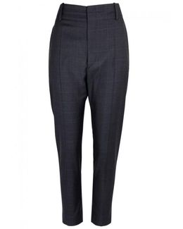 Noah Checked Cropped Wool Trousers