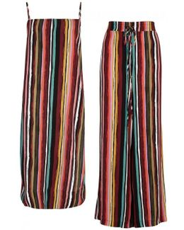 Ruby Striped Tunic And Wide-leg Trousers