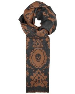 Anthracite Skull-jacquard Wool Scarf