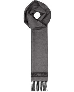 Charcoal Silk And Cashmere Blend Scarf