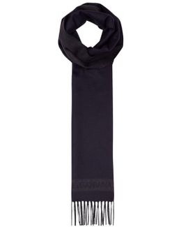 Navy Silk And Cashmere Blend Scarf