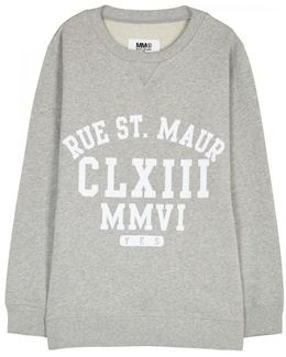 Grey Flocked Cotton Sweatshirt