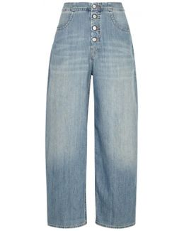 Blue Stone-bleached Wide-leg Jeans
