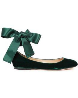 Odette Emerald Velvet Flats