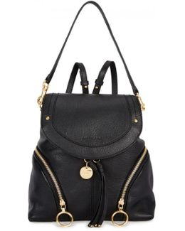 Ƒâ Olga Large Black Leather Backpack