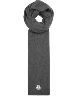 Grey Ribbed Wool Scarf