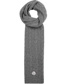 Grey Cable-knit Wool Scarf