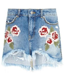 Wild Rose Embroidered Denim Skirt