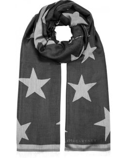 Black Star-jacquard Scarf
