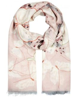 Butterfly-print Cashmere Blend Scarf