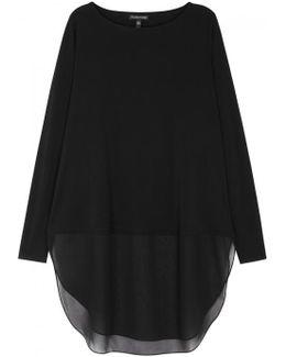 Black Chiffon And Silk Jersey Top