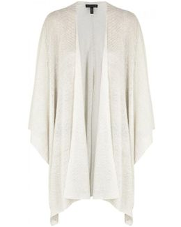 Cream Draped Fine-knit Shawl