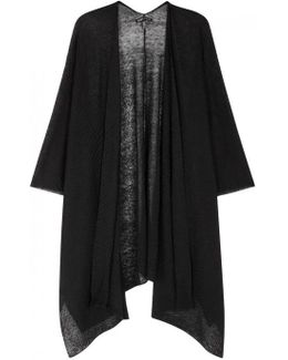 Black Draped Fine-knit Shawl
