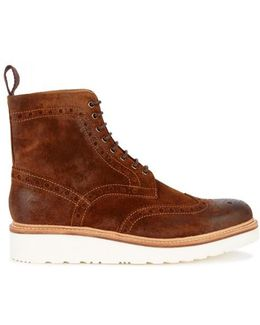 Fred Brown Suede Brogue Boots