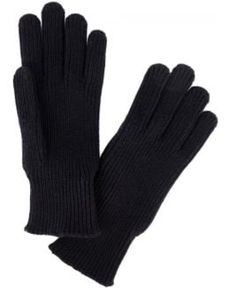 Navy Ribbed Wool Gloves