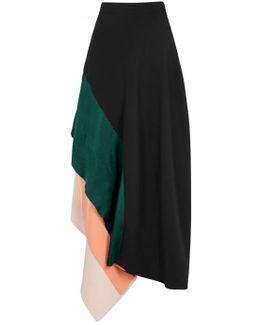 Delam Asymmetric Silk Skirt