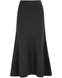 Charcoal Ribbed Wool Midi Skirt