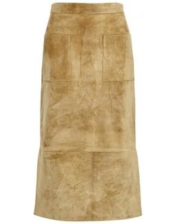 Odessa Sand Suede Pencil Skirt