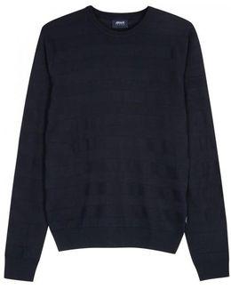 Navy Striped Fine-knit Wool Blend Jumper