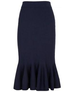 Navy Stretch-knit Skirt