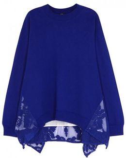 Royal Blue Lace-insert Cotton Sweatshirt
