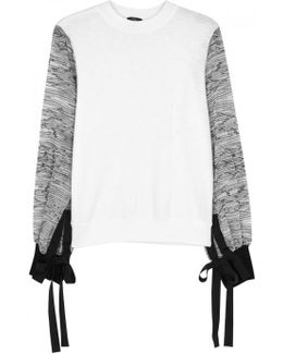 White Tie-embellished Jersey Sweatshirt