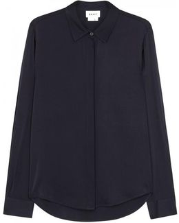 Navy Stretch Silk Shirt