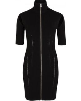 Black Ribbed Jersey Mini Dress