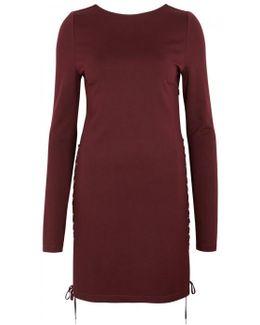 Bordeaux Lace-up Jersey Mini Dress