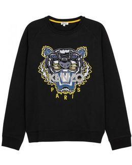 Black Tiger-embroidered Cotton Sweatshirt