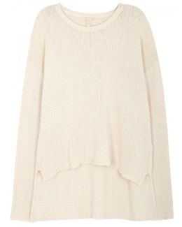 Cream Chunky-knit Cotton Blend Jumper