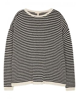 Striped Chunky-knit Cotton Blend Jumper
