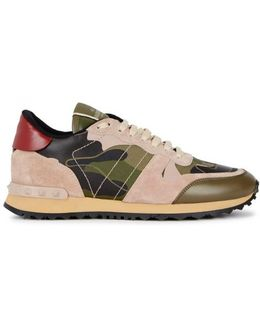 Camouflage Leather And Canvas Trainers