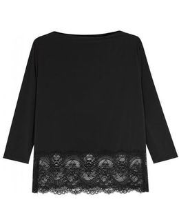 Chrystalle Lace-trimmed Pyjama Top