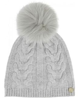 Grey Fur Pompom Wool Blend Beanie