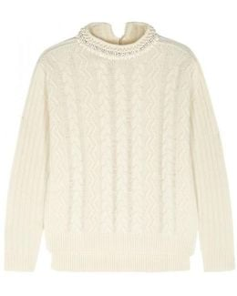 Cream Cable-knit Wool Blend Jumper