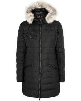 Melcombe Black Fur-trimmed Quilted Coat