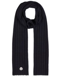 Navy Ribbed Wool Scarf