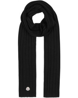 Black Ribbed Wool Scarf