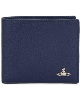 Navy Grained Leather Wallet