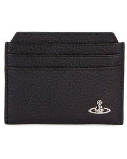 Black Grained Leather Card Holder