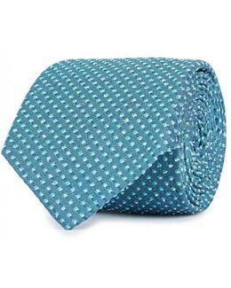 Cyan Textured Silk Blend Tie