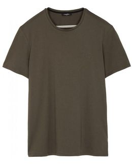 Army Green Embossed Cotton T-shirt