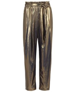 Metal Lamé Cropped Trousers
