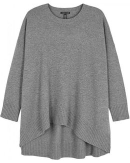 Grey Oversized Cashmere Blend Jumper
