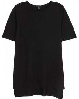 Black Textured-knit Tencel Top