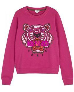 Fuchsia Tiger-embroidered Cotton Sweatshirt