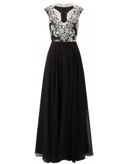 Lace Bodice Evening Dress