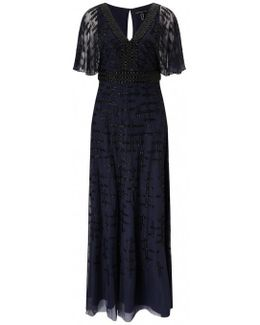 Cape Sleeve Evening Dress