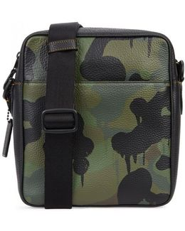 Camoflauge-print Leather Cross-body Bag